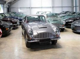 Aston Martin cars stored in secured car showroom