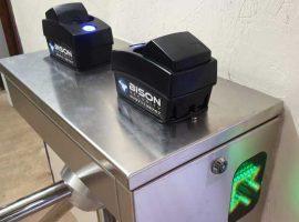 two fingerprint reader are mounted on half-height turnstile